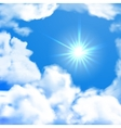 Bright sky whit sun and clouds vector