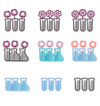 Set of icons test tubes and flowers vector