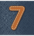 Number 7 made from leather on jeans background vector