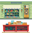 Storefront and a shelf with books vector