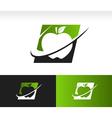 Swoosh apple logo icon vector
