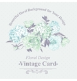 Gentle blue vintage floral greeting card vector