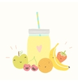 Jar with smoothie and funny fruits vector