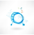 Music drum grunge icon vector