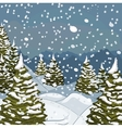 Winter landscape with snow and fir-trees vector