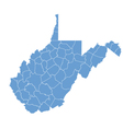 State map of west virginia by counties vector