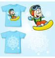 Kid shirt with snowboarder printed - back and vector