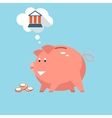 Banking piggy bank money into investments vector