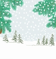 Spruce branches of christmas tree with snowflake vector