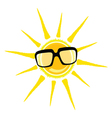 Sun yellow and black glasses vector