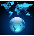 Globe on dark blue world map vector