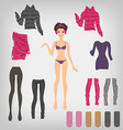 Dress up paper doll with an assortment of winter vector