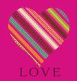 Ornamental pink heart valentine card vector