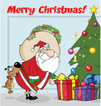 Santa delivering presents cartoon vector