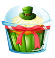 A cupcake inside the transparent container vector