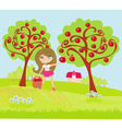 A little girl collects apples in sunny day vector