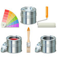 Paint can and brush icons vector