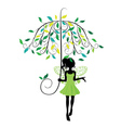 Fairy with floral umbrella vector