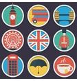 London flat circle icon set vector