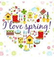 Heart spring background vector