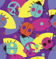 Psychedelic seamless print with ladybugs vector