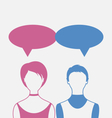 Man and woman with dialog speech bubbles isolated vector