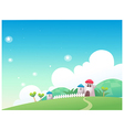 Cute village landscape vector