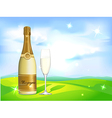 Glass of champagne and bottle on natural vector