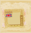 Grunge banner with big ben in london vector