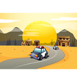 Vehicles in the road vector