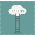 Ladder and cloud with word success flat design vector