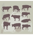Cow set silhouette on grunge background vector