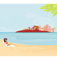 Summer beach girl on vacation vector