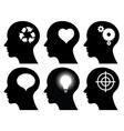 Black head profiles with idea symbols vector