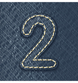Number 2 made from jeans fabric vector