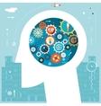 Businessman head idea generation gear wheel icons vector