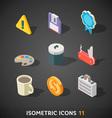 Flat isometric icons set 11 vector