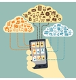 Hand holding smartphone connected to cloud vector