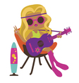 Cute hippie girl in chair with guitar vector