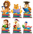 Animals and books vector