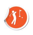 Golf icon orange sticker vector