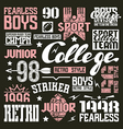 College rugby team design elements vector