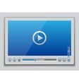 Blue glossy video player template vector