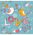 Love seamless texture with flowers and birds vector