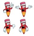 Sad cartoon pencils set vector