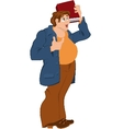 Retro hipster fat man standing and holding book vector
