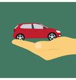 Hand holding car vector