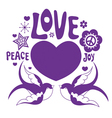 Design with swallows and heart vector