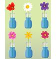 Flowers in vase set vector