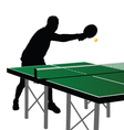 Ping pong player silhouette six vector